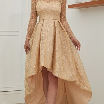 Fall Romance Gold Sheer Mesh Glitter Swirl Pattern Long Sleeve Crew Neck High Low Ball Gown Maxi Dress