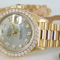 Rolex Lady Datejust President Gold Mother of Pearl Diamond Bezel 79178 - WATCH C