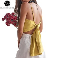 Lily Rosie Girl Women Bohemian  Casual Woven Bow Summer Camis Tops White Off Shoulder Elegant Beach Crop Tops Blusa Blouse