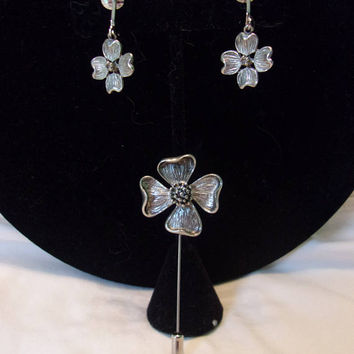 Antique Dogwood Flower Silver Plate Stick Pin Brooch Clip Earrings Vintage Set