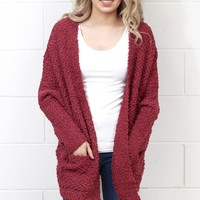 Oversized Wubby Sweater Cardigan {Marsala}