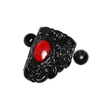 Gothic Black & Red Lace Cartilage Ear Cuff Earring