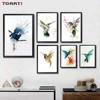Watercolor Animal Birds Poster Minimalist Art Canvas Painting Wall Picture Long Banner Print Modern Home Room Decoration