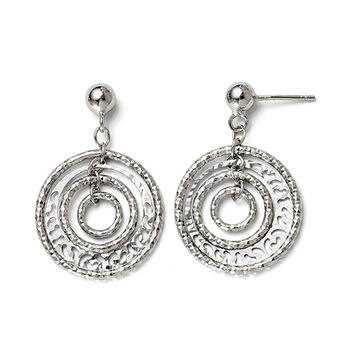 Diamond-Cut Multi Circle Post Dangle Earrings in Sterling Silver