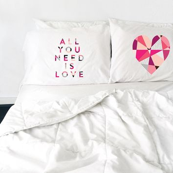 All You Need Is Love Heart Pillowcase Set (Two 20x30 Standard Pillow Case) Couples Gifts For Her - Wedding Decoration - Anniversary Gift Birthday Present