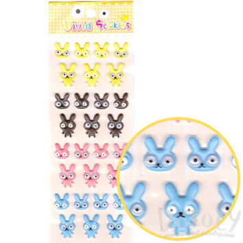Bunny Rabbit With Googly Eyes Shaped Cartoon Puffy Stickers | Cute Animal Themed Scrapbook Supplies