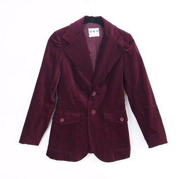 Vintage corduroy Carson Pirie Scott Blazer XS jacket // maroon burgundy 100% cotton slim fit
