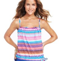 24th & Ocean Printed Tankini Top & Adjustable Swim Brief Bottom | macys.com