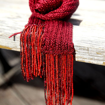 Long Scarf/ Knitted Scarf/ Summer Scarf/ Women Accessories/ Scarf With Beads/ Viscose Scarf/ Thin Scarves