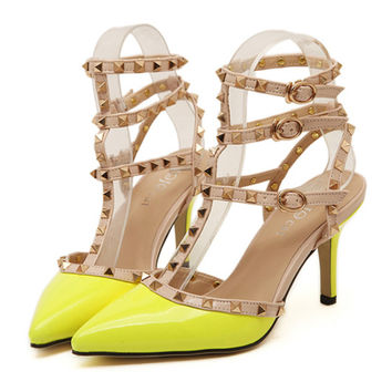 Rivet Multiple Buckle Pointed Chromatic Color Thin High Heel Sandals  yellow