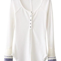 White Button Up Contrast Ribbed Cuff Long Sleeve T-shirt