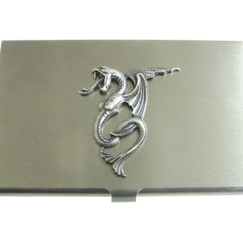 Silver Toned Textured Serpent Pendant Business Card Holder