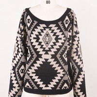 Sparks between Aztec Sweater Black Onesize