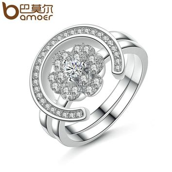 Silver Color Elegant Sunflower Statement Ring Set Clear CZ Ring for Women Wedding Jewelry YIR187