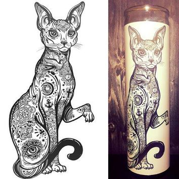 Sphinx Cat, Sphynx cat,  Hairless Cat, Fish Bowl, Cool Art, Hipster, Home Decor, Scented  Candle, Prayer Candle, Candle, Gift Idea,