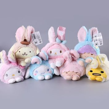 Cute Soft Plush Toy Cartoon Hello Kitty My Melody Cinnamoroll Dog Egg Yolk Pudding Dog Twin Stars Turned to Rabbits Dolls Gifts