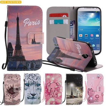 For Coque Samsung Galaxy S4 Case Flip Cover Leather Wallet Phone Bag I9500 Galaxy S IV Case Scenery Painted Mobile Phone Shell