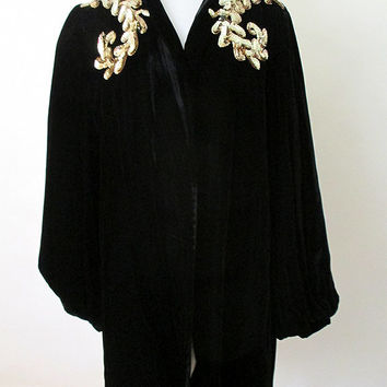 Glamorous 1940's Black Velvet Evening Cocktail Jacket with Gold Sequin Trim Old Hollywood Glamour Starlet Size-Medium