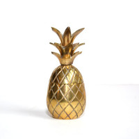 "Pineapple Brass Pineapple Box Brass 3.75"" Pineapple Box Wedding Decor Brass Pineapple Ananas Pina Pineapple Candle Holder"