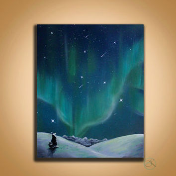 Northern Lights - Wall Art - Painting - Space Painting - Spray Paint Art - Memorials - Original Paintings - Paintings on Canvas -