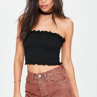 Missguided - Black Shirred Bandeau Top