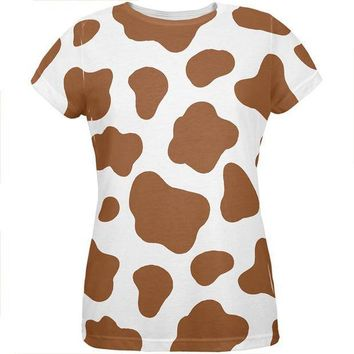 CREYCY8 Halloween Costume Brown Spot Cow All Over Womens T Shirt