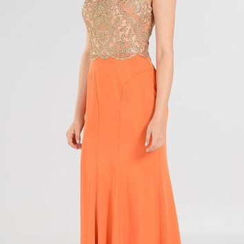 Orange Cap Sleeves Sheer Embellished Bodice Long Formal Dress