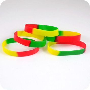 ac spbest 50x red yellow green Silicone wristband Jamaica Rasta Reggae Punk Hiphop Bracelet Fashion jewelry