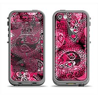 The Pink & White Paisley Pattern V421 Apple iPhone 5c LifeProof Fre Case Skin Set