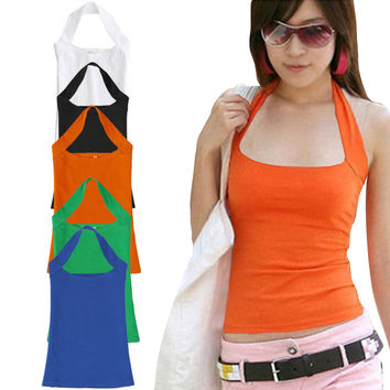 Summer Sexy Cotton Halter Neck Sleeveless Vest Tank Backless Crop Top Strapless Bottoming Sheath Slim Vest For Women Ladies HB88