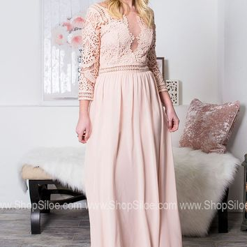 Blushing Lace Maxi Dress