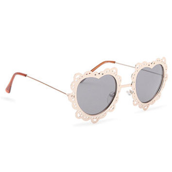 92e26fb4c8 With Love From CA Lace Metal Heart Sunglasses at PacSun.com