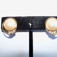 Vintage Pearl Gold Earrings Rhinestones Wedding Jewelry Jewellry Bridal Party Prom Opera Gift for Her