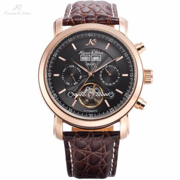 KS GRAND Series Automatic Mechanical Rose Gold Case Date Tourbillon Steel Case Men Leather Wrist Watches +Luxury Wood Box /KS368