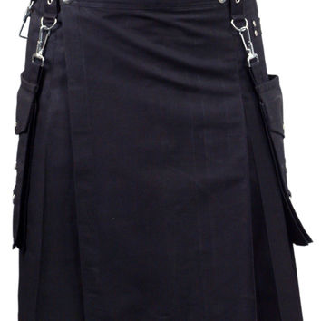 Black Detachable Utility Kilt Custom Made
