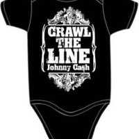 Johnny Cash Baby Suit Kids Onesuit One Piece Romper 'I Crawl The Line' 3-12 mths