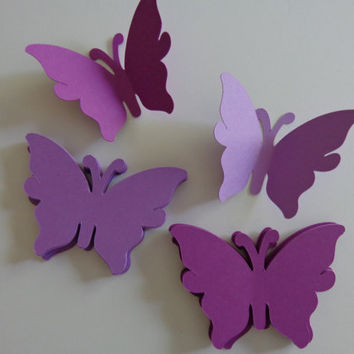 Large Purple and Lavender Butterfly Die Cuts-Butterfly Punch, Paper Butterfly, Butterfly Decorations,Wedding Die Cuts-set of 50