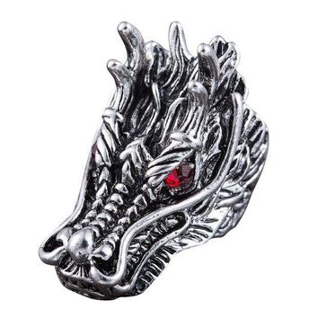CREYNO Dragon Head Rings For Men Punk Rock Style Red Stone