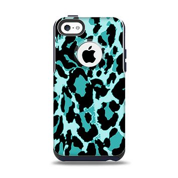 The Vector Hot Turquoise Cheetah Print Apple iPhone 5c Otterbox Commuter Case Skin Set