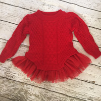 "The ""Audrey"" Sweater Tutu Dress in Red"