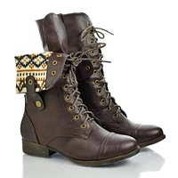 Sharpery1 By DbDk, Round Toe Lace Up Foldable Collar Combat Military Boot