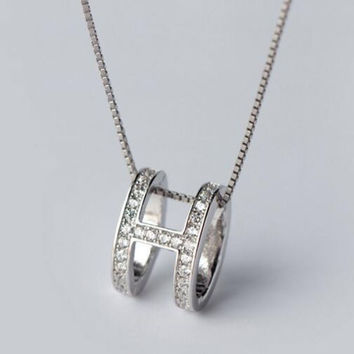 Womens Girls 925 Sterling Silver Necklace with Crystal Christmas Gift 86