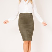 Close To Cove skirt in khaki suedette Produced By SHOWPO