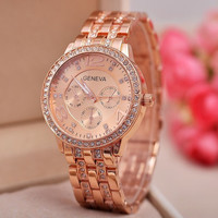Women's GENEVA Quartz Watch with Diamonds Round Dial and Steel Watch Band - Rose Gold, Silver, Gold