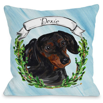 """Dachshund"" Indoor Throw Pillow by Timree Gold, 16""x16"""