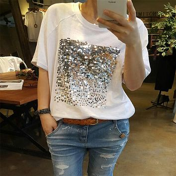Summer new Korean version of the loose large size cotton sequins bamboo cotton white women t-shirt women short-sleeved fitness