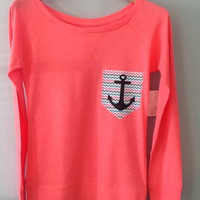 Long Sleeve Shirt- chevron zigzag pocket anchor