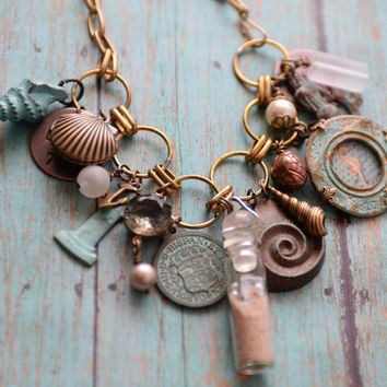 Message In A Bottle Beach Necklace, Mermaid Necklace, Seashell Locket Necklace, Ocean Charm Jewelry, Seahorse Necklace SRAJD Patina necklace