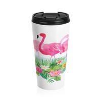 Pink Flamingo Stainless Steel Travel Mug, Tropical Coffee Mug, Flamingo Travel Coffee Mug