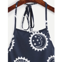 Fashion Simple Female Sun Moon Print Halter Strap Vest Crop Top